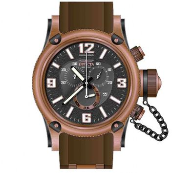 Invicta 11364 Men's Russian Diver Chronograph Black Dial Brown Rubber Strap Rose Gold Tone Stainless Steel Dive Watch