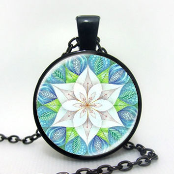 New FLOWER OF LIFE Dazzling Blue Kaleidoscope Mandala Jewelry Geometric Floral Art Print Mandala Art Necklace B3