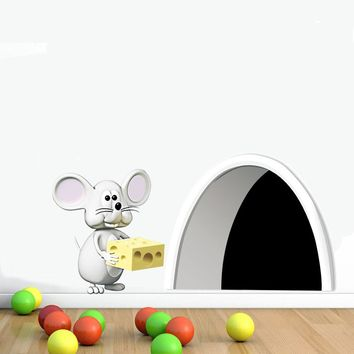 Mouse Hole Cake Wall Decal Art Sticker Cute Gift For Kids Funny Door Decals Nursery Bedroom Removable Wallpaper Home Decor