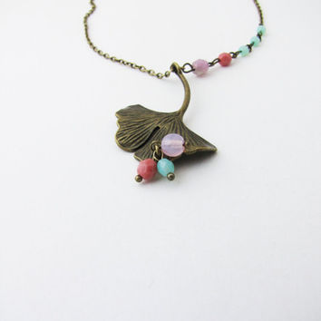 Romantic Pendant Ginko Leaf pendant Mint Pastel pink Long chain