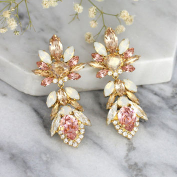 Blush Earrings, Champagne Blush Earrings, Bridal Earrings, Statement Earrings,Antique Pink Earrings,Long Dangle Blush Earrings,Blush Jewelry