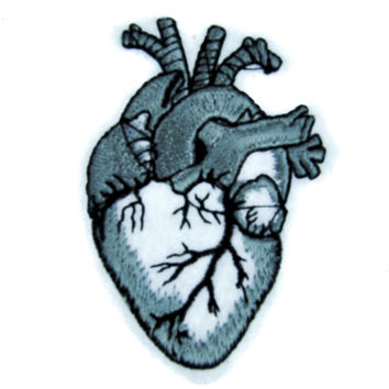 Anatomical Human Heart Patch Iron on Applique Occult Clothing