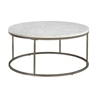 Alana Round White Marble Top Coffee Table