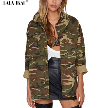 Plus Size XL Spring Jacket Women Camouflage Jacket  Army Green Outwear Woman Military Style High Street Overcoat Girls SWF0249-5