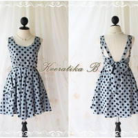 A Party V Dress - Gray / Black Polka Dot Print All Over Backless Party Cocktail Prom Bridesmaid Dinner Bridal Shower Anniversary Dress