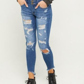 Dark Wash Mid Rise Button Fly High Low Jeggings