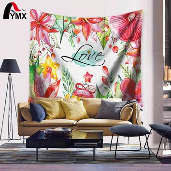 Flower Print Wall Hanging Tapestry Bohemian Room Decor Bedding Rug Polyester Wandtapijt Fabric Mre Wall Blanket Moroccan Decor