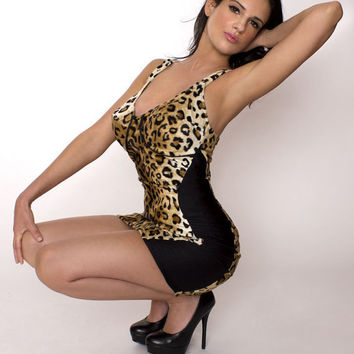 Pin up Leopard Minidress Dress