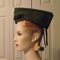Military Hat with Bow  Army Green Vintage Style by MGDclothing