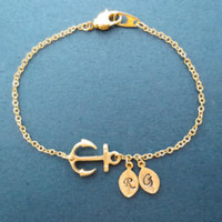 Personalized, 0-5, Letter, Initial, Infinity, Gold, Bracelet, Hand stamped, Initials, Birthday, Lovers, Best friends, Gift, Jewelry