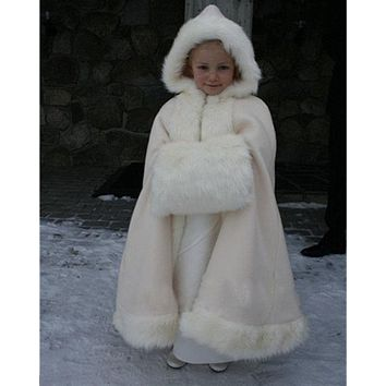 Winter Long Faux Fur Trim Wedding Cloak Bridal Kid Flower Girl Cape Wraps Hot !!