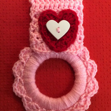 Valentine kitchen towel hanger, dish towel hanger, button towel hanger, oven towel hanger, heart towel hanger, hand crochet towel hanger