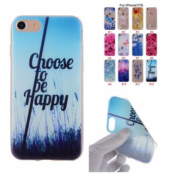 Cartoon Flower Butterfly Bear Tree Painted Back Cover Silicon Gel Soft TPU Mobile Phone Case For iPhone 6S 6 7 Plus 5S 5 SE ifon