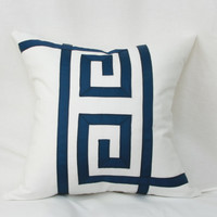 "Blue & white Greek key ribbon decorative throw pillow cover. 18"" x 18"". 20"" x 20"". 22"" x 22"". 24"" x 24"". toss pillow."