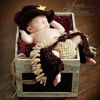 Newborn Baby  Infant Cowboy Knitted Crochet Costume Prop  Photo Photography  (Size: 0-6m, Color: Brown & Yellow) = 1957995396