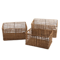 Adeco Multi-Purpose Milk Crate-Style Woven Baskets, Rectangular, Home Decor, Set of 3