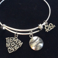 Team Mom Charm on a Silver Expandable Silver Wire Bangle Bracelet Sports Go Team Coach Gift Adjustable Softball Baseball