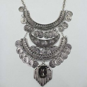 Bohemian Necklace Vintage Gold/Silver Carved Coins Pendant