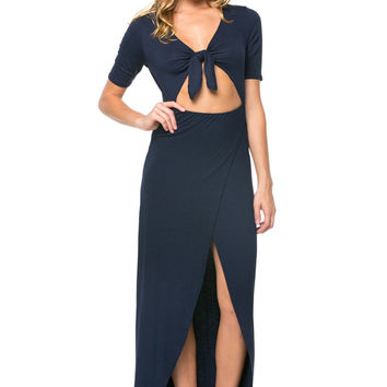 Navy Blue Full Length Dress With Midriff Cutout Front Tie
