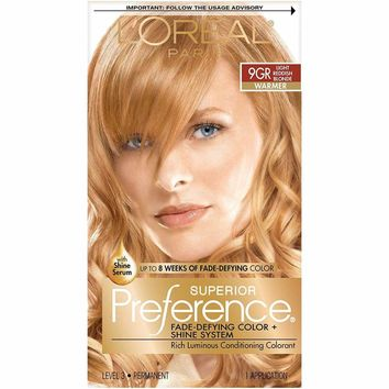 L'Oréal Paris Superior Preference Permanent Hair Color, 9GR Light Golden Reddish Blonde