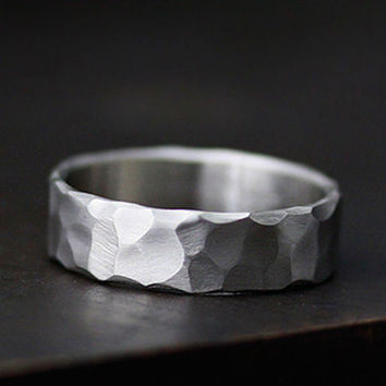 rustic hand carved wedding band