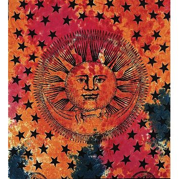 Handmade 100% Cotton Celestial Eclipse Sun Moon Star Tapestry Coverlet Twin 70x104