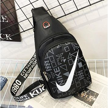 NIKE New fashion hook print couple shoulder bag bust crossbody bag Black
