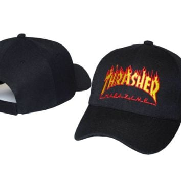 Cool Thrasher Flame Print Baseball Cotton Cap Hat