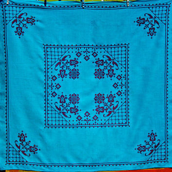Vintage Linen Tablecloth Set Cross Stitch Turquoise by dyenah