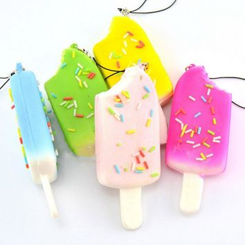 Popsicle Squishy Chocolate Sprinkle Bread Scented Key Chains