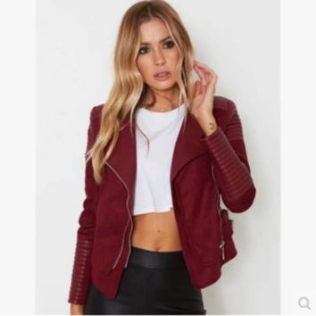 кофта пиджак жен Female jacket coat women jacket coat Burgundy