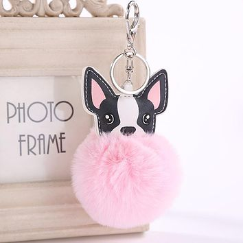 2018 New Cute Pompom Fluffy Fur Dog Keychain Faux Rabbit Fur Pompon Ball keyring Women Car Bag Pom Pom Key Chain Holder Gift