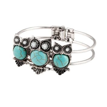 Bohemian Style Retro Cute Owl Plating Lady Bracelet With Turquoise