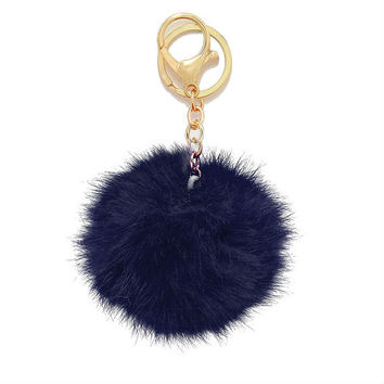 Navy Blue Rabbit Fur Pom Pom Key Chain / Bag Charm Key chain, gift