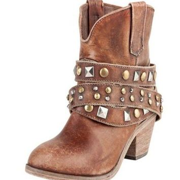 LMFYW3 Corral Cognac Studded Wrap Ankle Boots P5042