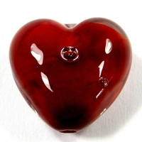 Encased Red Lampwork Glass Heart Bead Handmade Focal Air Bubbles 20mm