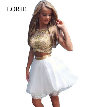 Sparkly White And Gold Two Piece Short Prom Dresses Vestidos Homecoming 2016 Sexy Girls Formal Party Dresses Fast Shipping