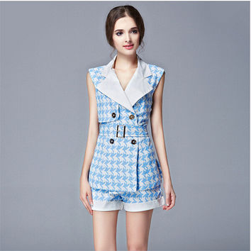 Blue Plaid Double Collar Notched Closure Top with Belt and Short