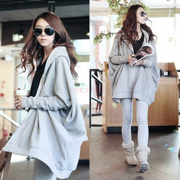 New Women's Korea Zip-Up Front Casual Long Batwing Sleeve Hooded Hoddie Coat Jacket Sweater One Size (Color: Grey) = 1945682756