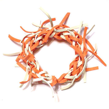 Orange and White Frayed Rubber Band Bracelet  - Available in ALL Colors - Makes a Great Gift for Kids, Teens, and Adults