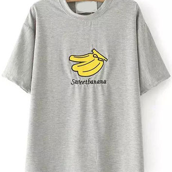 Sweet Banana Graphic Embroidered Grey T-shirt