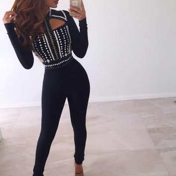 NEW STYLE Luxury BEADING BANDAGE JUMPSUIT