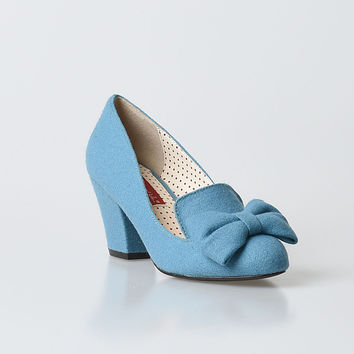 B.A.I.T. Dusty Blue Whimsical Bow Hippy Heels