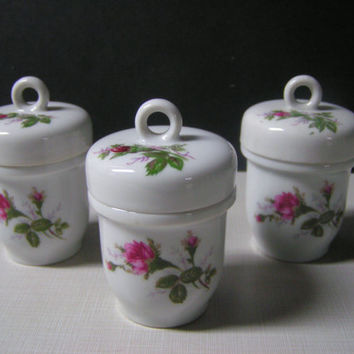 Vintage Porcelain Trio Egg Coddler or Catch All Rose Pattern Shabby Chic Cottage Victorian Flair Elegant Feminine Charming Home Decor Piece