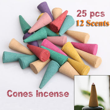 25 Mix Stowage Colorful Fragrance Triple Scent Incense Cones Home Decor Incienso Encens Potpourri Free Shipping PTCT