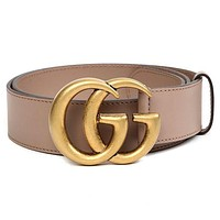 Gucci 2018 latest men's GG belt buckle leather belt F