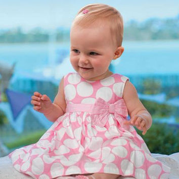 2016 Cute Baby Girl Dress Pink Newborn Baby Dots Sleeveless Tutu Dress Toddler Baby Girls Party Wedding Birthday Dress Clothes