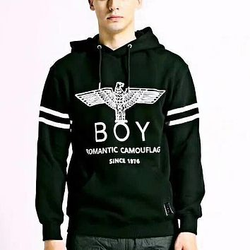 Boy London Fashion Casual Pattern Print Plus Velvet Hooded Top Sweater Pullover