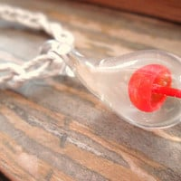 Mushroom Necklace Hemp Glass Pendant Boho Jewelry Red Shroom Necklace