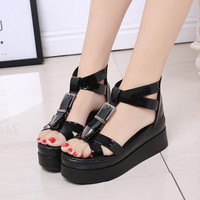 Summer  Flat Platform Sandals Leather Shoes Woman